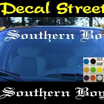 Southern Boy Windshield Visor Die Cut Vinyl Decal Sticker Diesel Old English Lettering