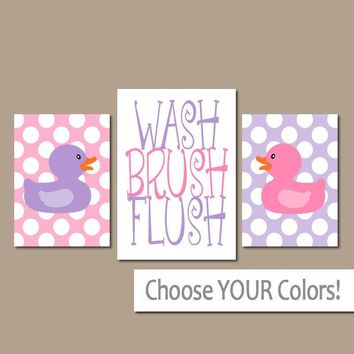 Duck Bathroom Wall Art, CANVAS or Prints Girl Bathroom  Rubber Duckie Bath Pink Purple WASH Brush Flush SISTER Set of 3 Child Bathroom