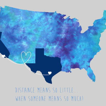 Personalized USA art print map long distance friendship or love- gift - birthday - christmas