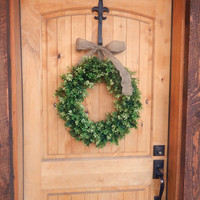 Fall BOXWOOD Wreath-LARGE Door Wreath-Artificial Boxwood Wreath-Holiday Door Decor-Outdoor Wreath-Scented Wreaths-Choose Ribbon and Scent