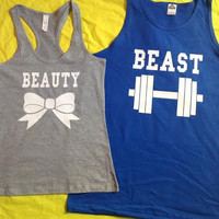 Free Shipping for US Beauty And The Beast Valentine's Day Matching Couples Tank Tops/Shirts:Grey&Blue Different Version