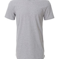 LE3NO Mens Hipster Hip Hop Longline Short Sleeve T Shirt with Side Zippers