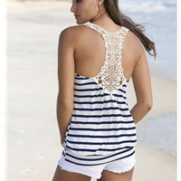 STRIPED TANK WITH CROCHET STRAPS | Body Central