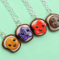 Kawaii Polymer Clay Best Friends 4 Piece Necklace Set