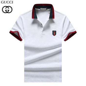 GUCCI 2019 new men's casual POLO shirt stand collar half sleeve T-shirt White