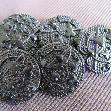 Molded Glass Buttons (5)