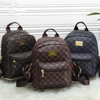 """Louis Vutitton"" Unisex Fashion Retro Tartan Logo Print Mini Backpack Couple Casual Double Shoulder Bag"