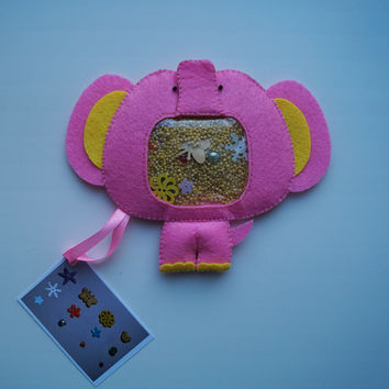 "Pink Elephant Sensory Toy I spy bag ""Treasure Hunt"" Baby Nursery Developing Stuffed Toy Decor Kids Animal Handmade Sweet Eco-Friendly #14"