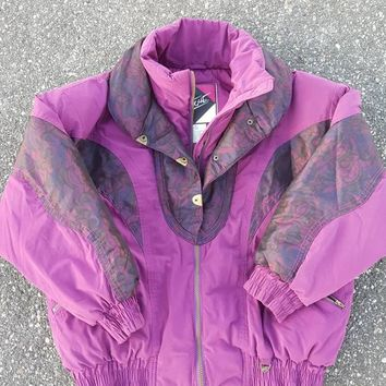Vtg Skitique Floral Purple iridescent 80s Ski Puffer Jacket Full Zip Color Change Winter Retro Coat size med