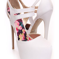White Strappy Platform Heels Faux Leather
