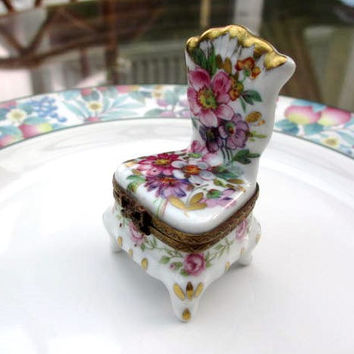 Limoges French Porcelain Trinket Box Hand Painted Chair