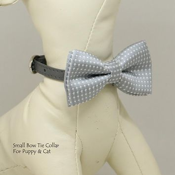 High-rise Gray bow tie,Small bow tie collar, Puppy Collar, Cat collar, Cat bow tie collar, Puppy gift, Leather