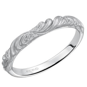 "Artcarved ""Gossimer"" Diamond Wedding Band Featuring Floral Carving Scrollwork"