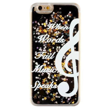 Unique Quicksand Twinkle Lace Musical Note Case Cover for iPhone 5s 5se 6 6s Plus Free Gift Box 47
