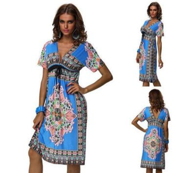 CREYU3C Details about New Fashion lady Retro Maxi Hippie Boho Paisley Print Strapless Summer Sun Dress