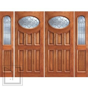 Prehung Mahogany Oval Lite Entry Double Door Two Sidelites