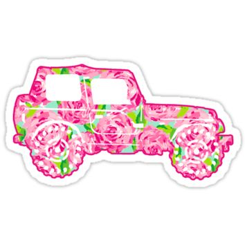 'Lilly Pulitzer First Impressions Jeep' Sticker by meg779