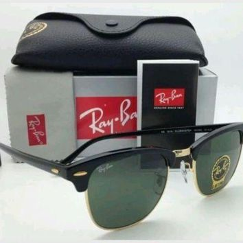 CHEN1ER NEW Authentic Ray Ban Clubmaster RB3016 Black Frame W0365 51mm Lens FREE SHIP