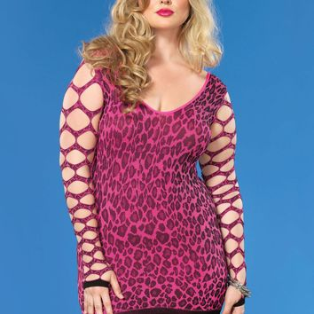 Seamless Leopard Mini Dress With Net Sleeves (Plus Size,Fuchsia)