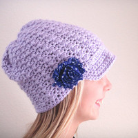 Knit Newsboy Hat - Winter Hat - Girls Knit Hat - Purple Beanie