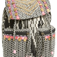 Steve Madden Embellished Cotton Twill Backpack