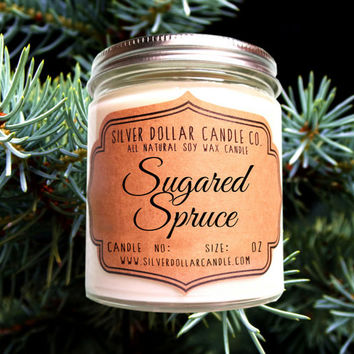 Sugared Spruce 8oz Scented Soy Candle, Christmas Gifts, Christmas Tree, Christmas Decor, Secret Santa, Stocking Stuffers, Christmas Candles