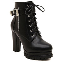 Black High Heel Boots With Buckle and Platform Design