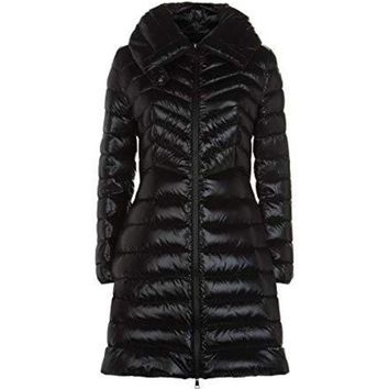 DCCK Moncler Women's Faucon Black Shiny Puffer Down Fitted 3/4 Coat