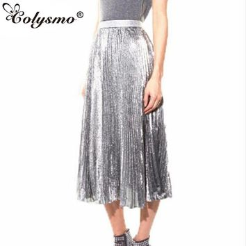 Colysmo Womens Vintage 80`s Retro High Waist Metallic Accorion Pleated Skirt Autumn Satin Ankle Length Maxi Skirt GS125