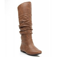 Women's Mid Calf Velvet Knee High Slouch Cowboy Riding Boots Fashion Shoe COGNAC