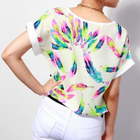 Printed Feather Design Blouse