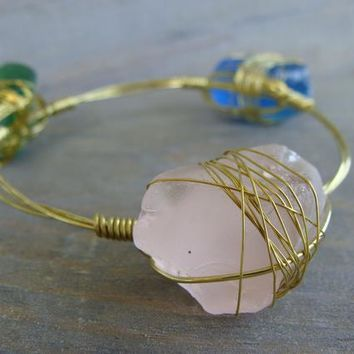 Blue Green Pink Beach Glass Wire Wrapped Stacking Bracelet Sea Stone Gold Silver Rock Chunky Stone White Matte Bangle