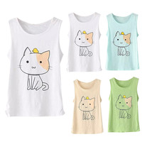 White Cat Printed Sleeveless Tank Top