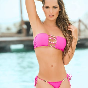 Tie Side Beaded Bandeau Top Colombian Bikini-Swimwear
