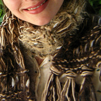 Brown Scarf Chocolate Biscuit Dark and Tan by CricketsCreations
