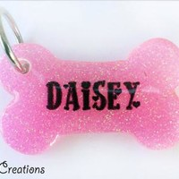 Pink Glitter Bone Dog Tag - Personalized Custom Handmade Dog Pet ID - Resin Girlie Colorful Pink - Glitter Dog Collar Accessory Cute