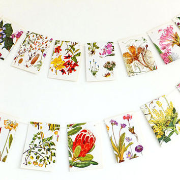 Flowers Bunting Flags, Floral Wedding decor, Wedding Garland,  Floral Garland, eco-friendly paper bunting banner, wedding pennants