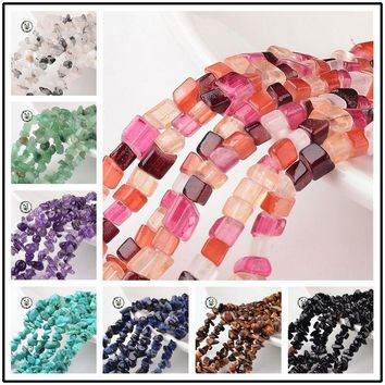 Nuggets Natural Stone Chip Beads For Jewelry Making DIY Bracelet Necklace 4~6x8~12x2~4mm, Hole: 1mm; about 34.6""