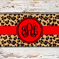 First car gift for girls, Cheetah license plate or frame, Personalized car tag, Monogram Car accessories, Bike ATV license plate red (1422)