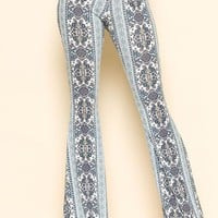 Ivory and Turquoise Paisley Print Flare Pants
