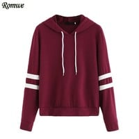 ROMWE Casual Women Hoodie For Autumn Ladies Burgundy Long Sleeve Varsity Striped Drawstring Hooded Pullover Sweatshirt