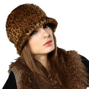 ONETOW Kenmont Women Lady Autumn Winter Coffee Faux Fur Leopard Visor Hat Beret Cap