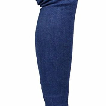 LL Gisele-7 Thigh High Over Knee Stretchy Denim Pointy Toe Stiletto Heel Boots Blue