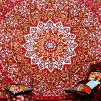 Gold Red Mandala Star Bohemian Boho Tapestry