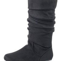 Women's Ruched Black Boots