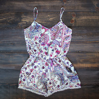 paisleys & pom poms playsuit