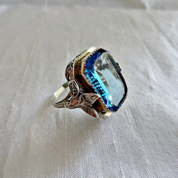 Sterling Silver Aquamarine Paste Stone Filigree Ring Ca 1900