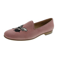 Del Toro Womens Birds And Bees Suede Embroidered Smoking Loafers