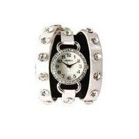 White Wrap Around Watch with Sparking Crystal Rhinestones Face Bling