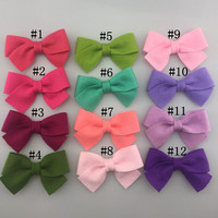 10pcs/lot 24 color Handmade Bowknot For Hair Accessories no clips Solid color DIY headbands soft non-wave bow girls hairwears